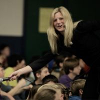 Co-Executive Director, Sonya White, kicks off a book drive in Simcoe County DSB. image