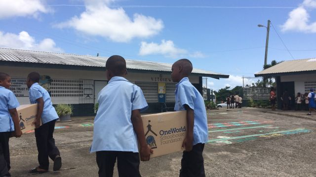 280 boxes were equally distributed between 13 schools. image