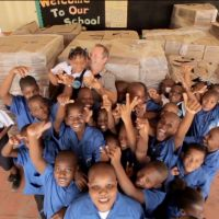 Richard Clewes and the students of Soufrière Primary School. image