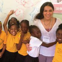 Illustrator Gabrielle Grimard with new friends from Elizabeth Pemberton School in Gingerland, Nevis. image