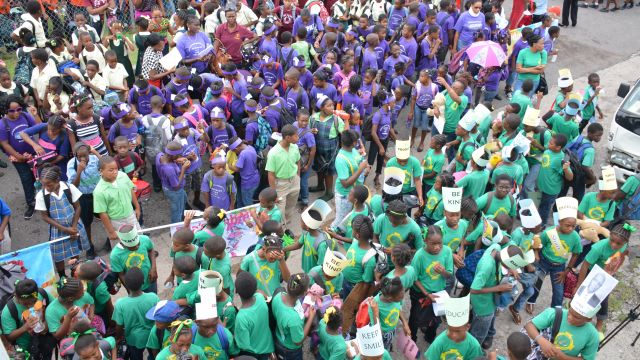 After marching through Charlestown, over 500 students attended the first ever Rainforest of Reading in St. Kitts & Nevis. image