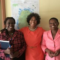 (L to R) Terres Dore, Cynthia Grenylon and Palsy Wilkin, Principal Education Officer. image