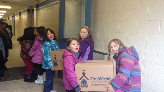 Alliston Union students pack up their OneWorld Schoolhouse Foundation donations, which are being shipped to St. Lucia and Grenada. image