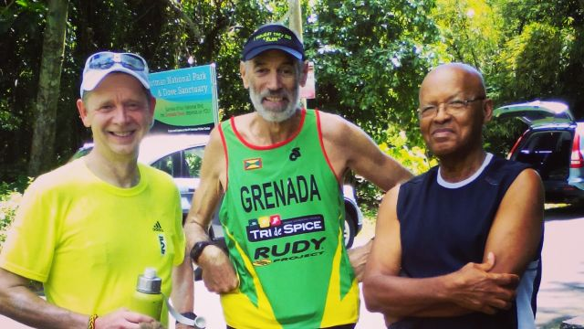 Philip Clift (Centre) ran with me on Day 2. In Crochu, Howard Humphrey (Right) provided a big bottle of spring water. image
